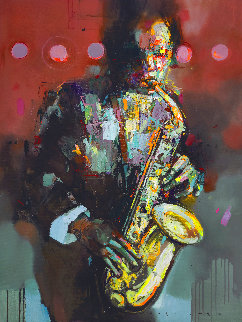 Flowing Sound 2020 47x35 Huge Original Painting - Victor Sheleg