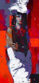 Gothic Girl 2019 59x28 Huge (Wine Label Commission) Original Painting - Victor Sheleg