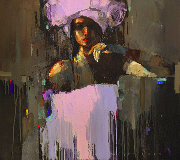 Violet Night Original 2019 35x40 Huge Original Painting - Victor Sheleg