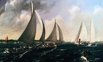 Skipjack Race 1952 48x84 Original Painting - Joseph Sheppard