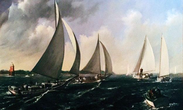 Skipjack Race 1952 48x84 Original Painting by Joseph Sheppard