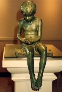 Boy And Frog Bronze Sculpture 2011 18 in Sculpture by Adolf Sehring