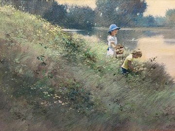 By the Lake 1980 32x44 Huge Original Painting - Adolf Sehring