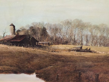Farm Scene 1980 40x30 Original Painting - Adolf Sehring