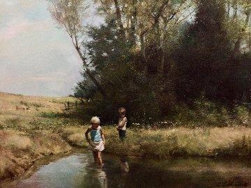 At the Lake 1980 34x40 Original Painting - Adolf Sehring