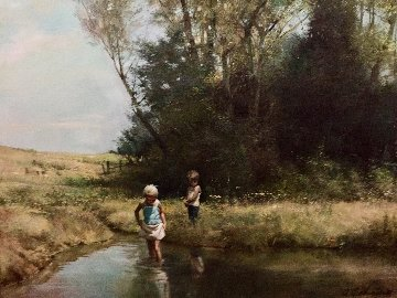 At the Lake 1980 34x40 Original Painting by Adolf Sehring