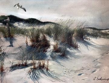 Shore Scene 1980 33x45 Huge  Original Painting - Adolf Sehring