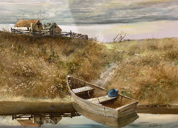 Rowboat 1980 38x48  Huge Original Painting - Adolf Sehring