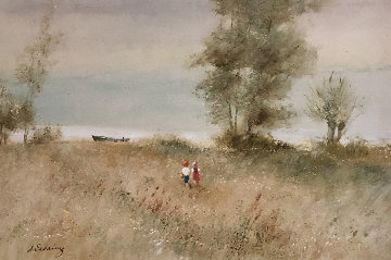 Two Children With Boat At Edge of Water 31x43 Original Painting by Adolf Sehring