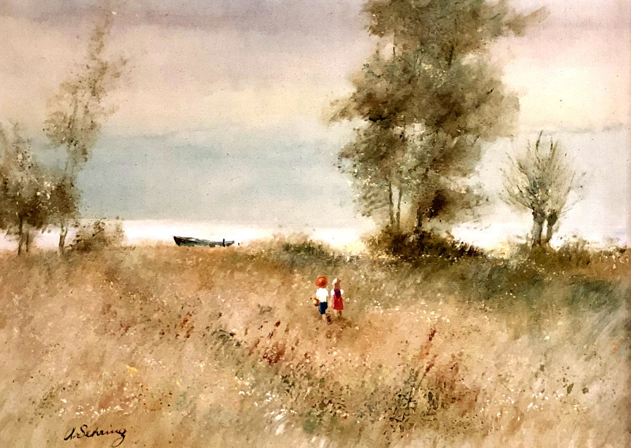 Two Children and Boat 1970 32x44 Original Painting by Adolf Sehring