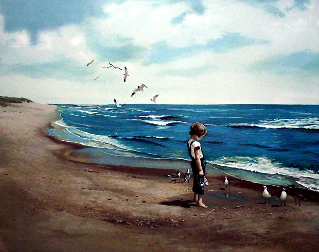 Boy on Beach PP 1983 Limited Edition Print by Adolf Sehring