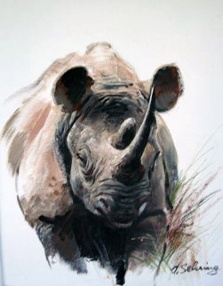 Rhino 21x17 Original Painting - Adolf Sehring