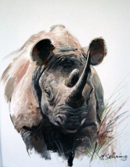 Rhino 21x17 Original Painting by Adolf Sehring