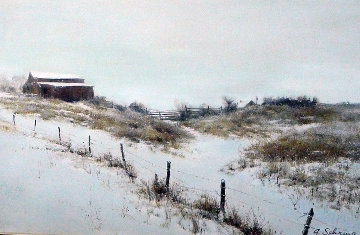 Snowy Day 1988 38x26 Original Painting by Adolf Sehring
