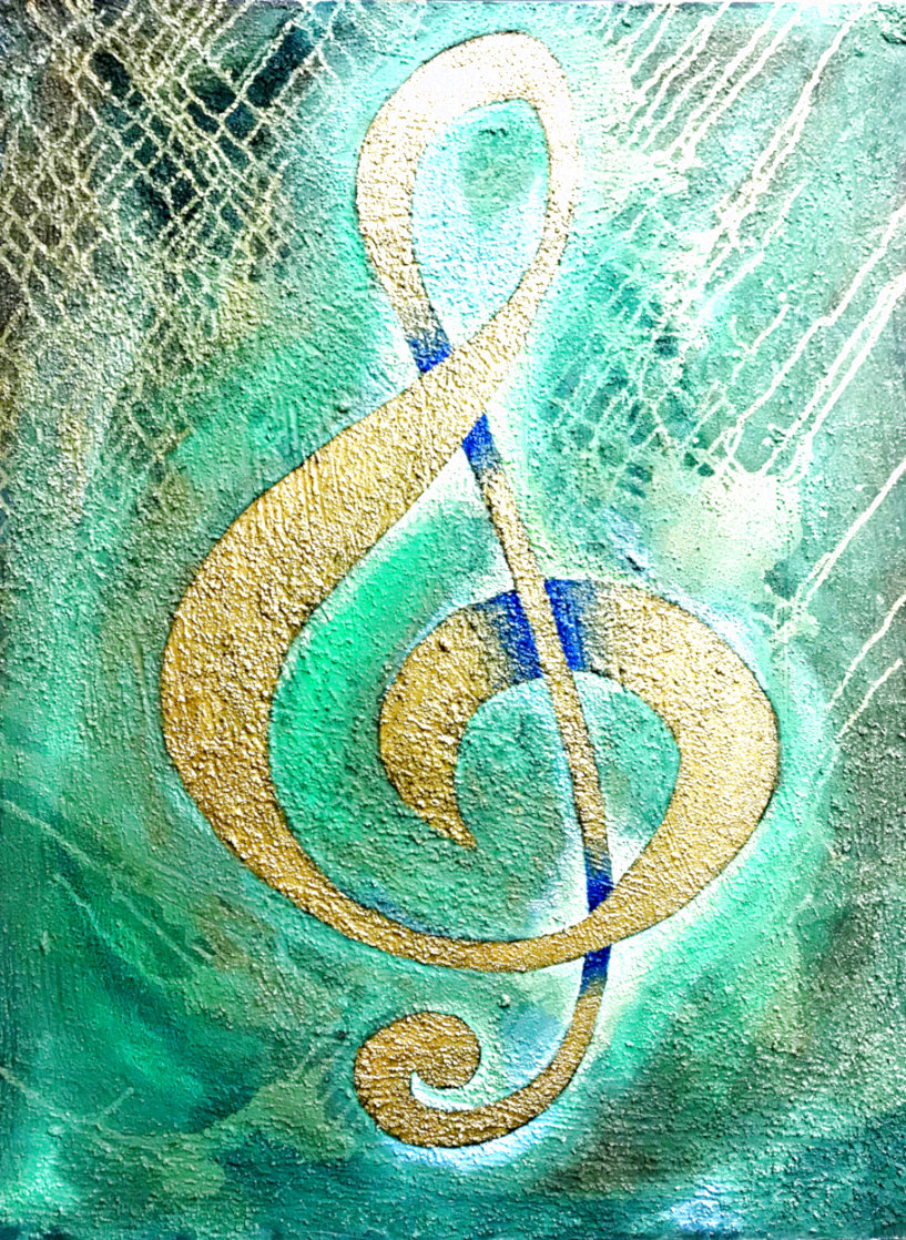 I Saw the Treble Clef in Gold 2020 40x30 Original Painting by Charles Sherman
