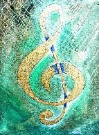 I Saw the Treble Clef in Gold 2020 40x30 Original Painting by Charles Sherman - 0