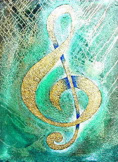 I Saw the Treble Clef in Gold 2020 40x30 Original Painting - Charles Sherman