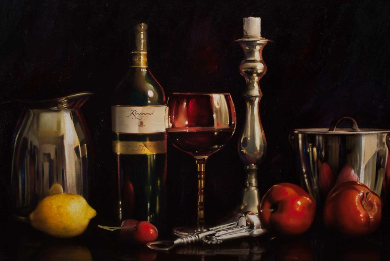 Still Life With Wine 24x48 Super Huge Original Painting by Alexander Sheversky