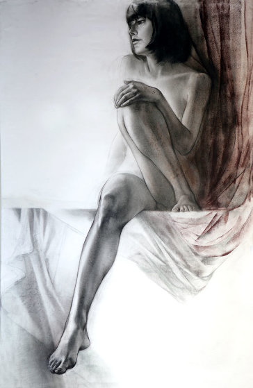 Nude And Silks Drawing 44x29 Drawing by Alexander Sheversky
