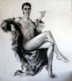 Nude in Fur Coat Drawing 44x39 Drawing - Alexander Sheversky