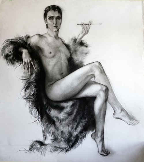 Nude in Fur Coat Drawing 44x39 Drawing by Alexander Sheversky