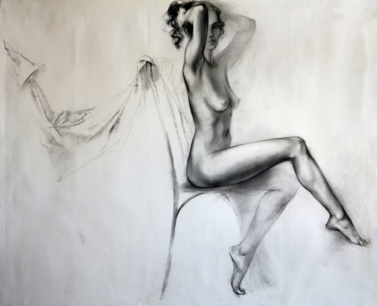 Seated Nude Legs Crossed Drawing 33x38 Drawing by Alexander Sheversky