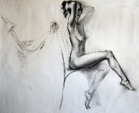 Seated Nude Legs Crossed Drawing 33x38 Drawing by Alexander Sheversky - 0