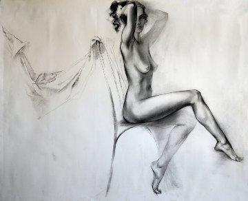 Seated Nude Legs Crossed Drawing 33x38 Drawing - Alexander Sheversky
