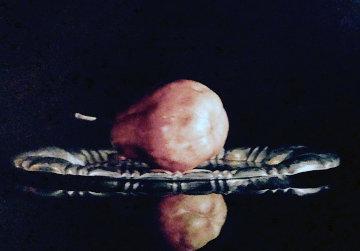 Still Life (Single Pear on Metal Platter) 41x53 Original Painting - Alexander Sheversky
