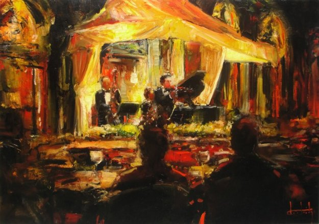 Private Concert on the Square 24x36 Original Painting by Stephen Shortridge