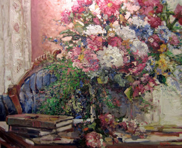 Petals and Poetry 1996 34x30 Original Painting - Stephen Shortridge