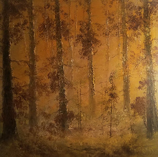 Birch Trees 38x38 Original Painting - Salomon Huerta