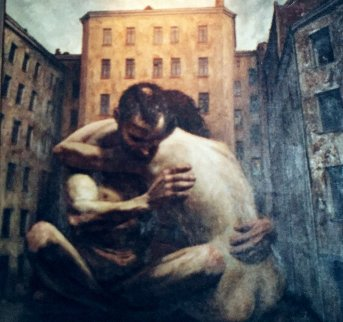 Couple in the Yard 1997 64x64 Original Painting - Vasily  Shulzhenko