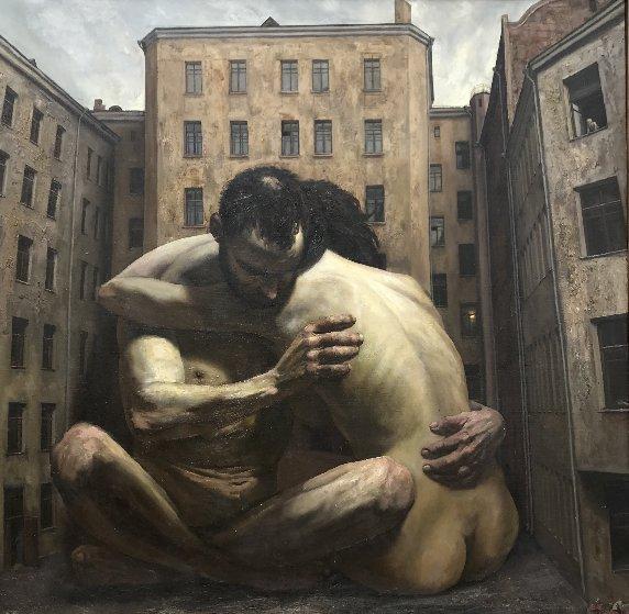 Couple in the Yard 1997 64x64 Original Painting by Vasily  Shulzhenko