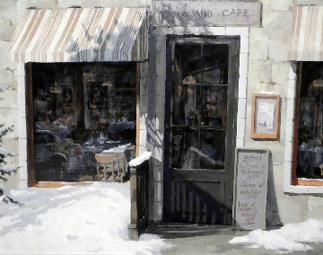 Woodland Cafe 1995 39x33 Huge Original Painting - Viktor Shvaiko