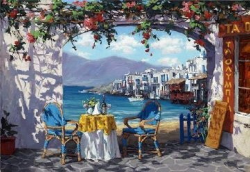 Meeting in Mykonos 2010 Embellished  Limited Edition Print by Viktor Shvaiko