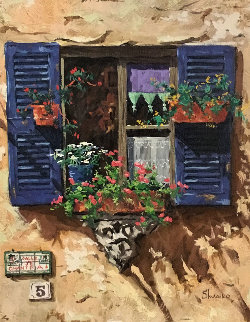 Blue Shutters 1999 27x23 Original Painting - Viktor Shvaiko