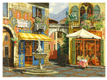 Fountain in the Square: Rendezvous in Venice Embellished Set 2 Limited Edition Print - Viktor Shvaiko