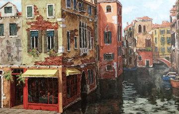 Venice Water 39x57 Original Painting - Viktor Shvaiko