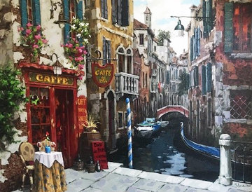 Quiet Table in Venice 2016 Embellished Limited Edition Print - Viktor Shvaiko