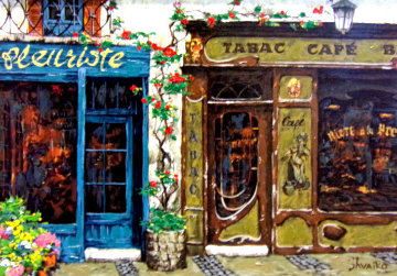 Cafe Tabac Embellished Limited Edition Print - Viktor Shvaiko