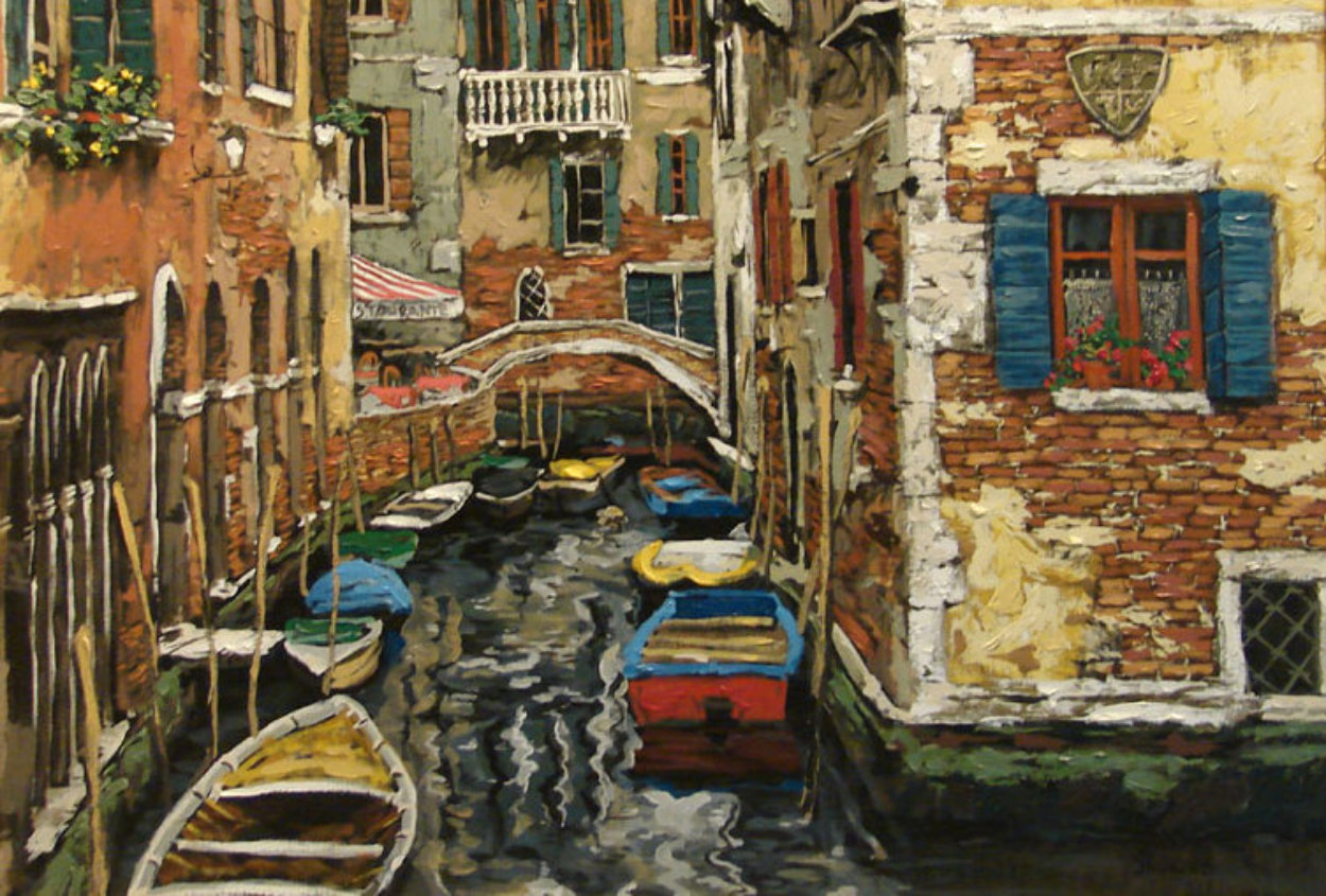 Boats of Venice PP Limited Edition Print by Viktor Shvaiko