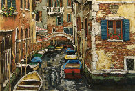 Boats of Venice PP Limited Edition Print by Viktor Shvaiko - 0