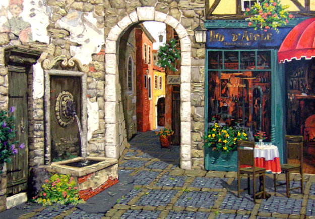 Fresco and Fountain PP Limited Edition Print by Viktor Shvaiko