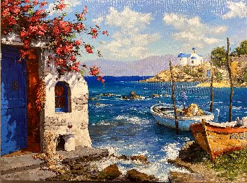 Morning in Mykonos 30x40 Super Huge Original Painting - Viktor Shvaiko
