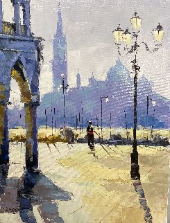 Gondoliere At the Piazza 24x18 Original Painting - Viktor Shvaiko