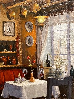 Lunch Under the Lantern 24x18 Original Painting - Viktor Shvaiko
