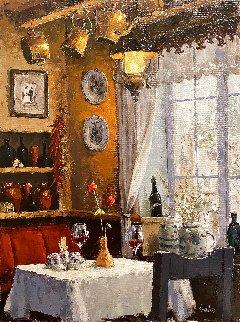 Lunch Under the Lantern 24x18 Original Painting by Viktor Shvaiko