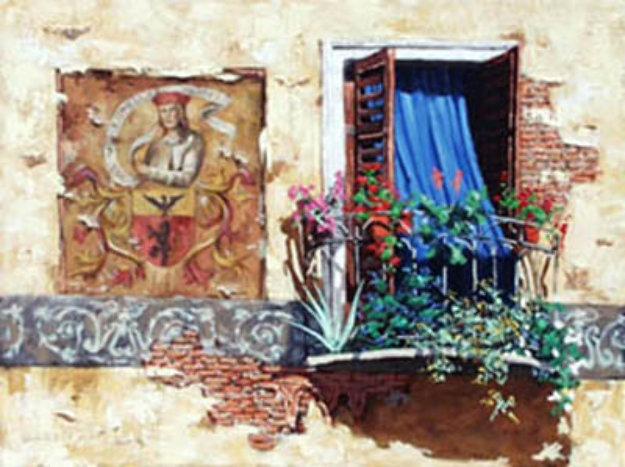 Blue Curtain 32x24 Original Painting by Viktor Shvaiko