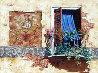Blue Curtain 32x24 Original Painting by Viktor Shvaiko - 0